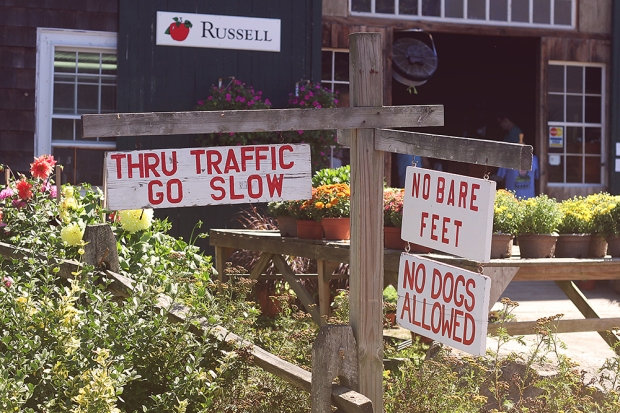 Signs at Russell Orchards